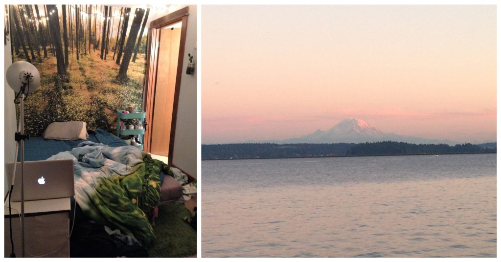 Small bedroom in Seattle and Mount Rainier at sunset
