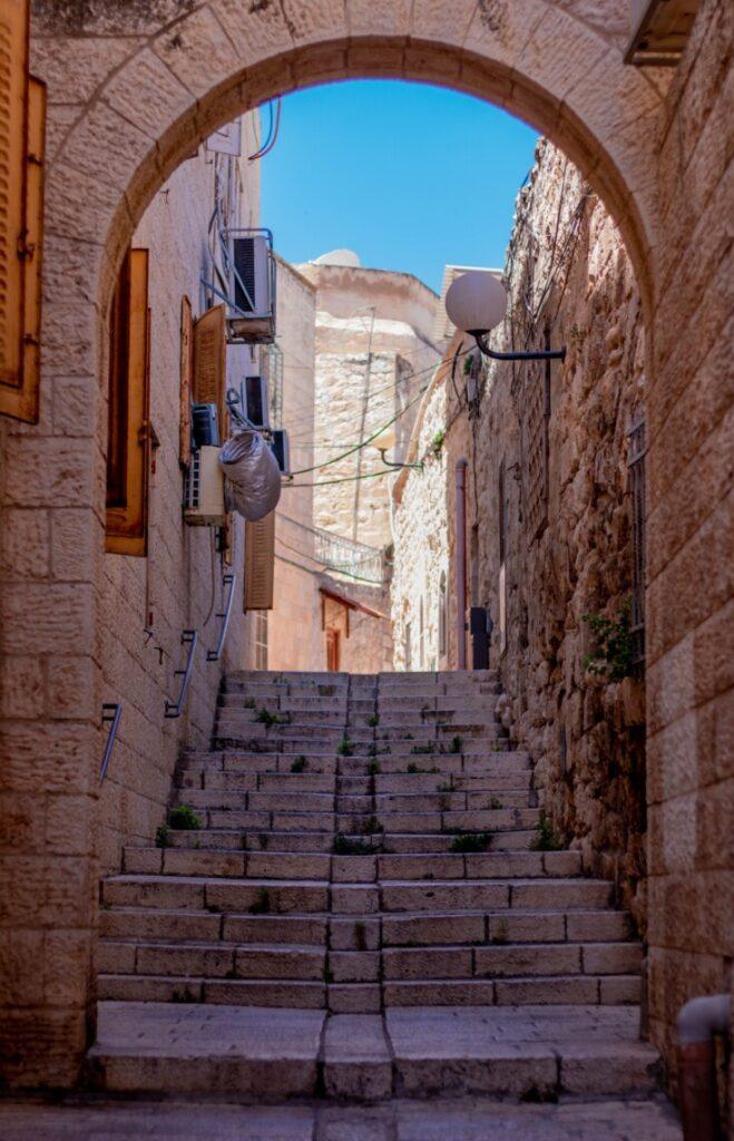sandstone steps in an old mediterranean town