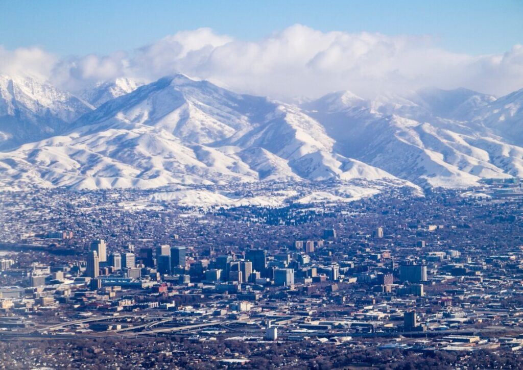 panoramic view of salt lake city with mountains in the background