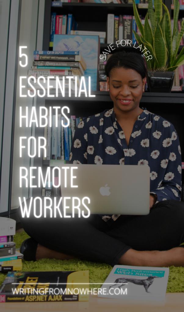remote work habits Pinterest image
