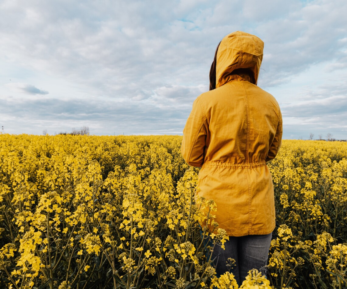 A woman in a yellow jacket stands in a field of yellow flowers, facing away from the camera, looking thoughtful