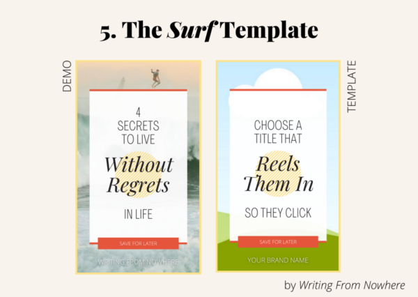 """Template #5 from the """"summertime"""" pin template pack. This Pinterest template design is titled """"surf,"""" and is shown in demo form and then the template form"""