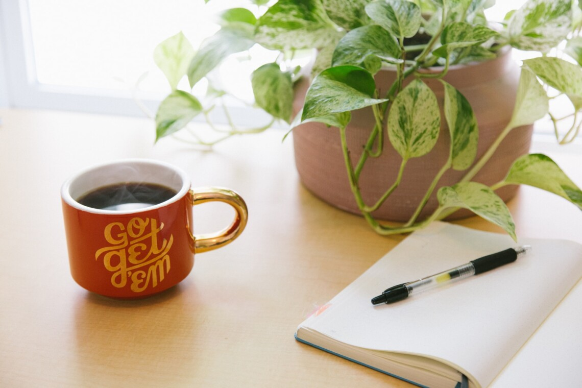"""A steaming cup of coffee with the words """"go get 'em"""" on it sites next to a draping house plant and a notebook, opened to a blank page with a pen sitting atop the page."""