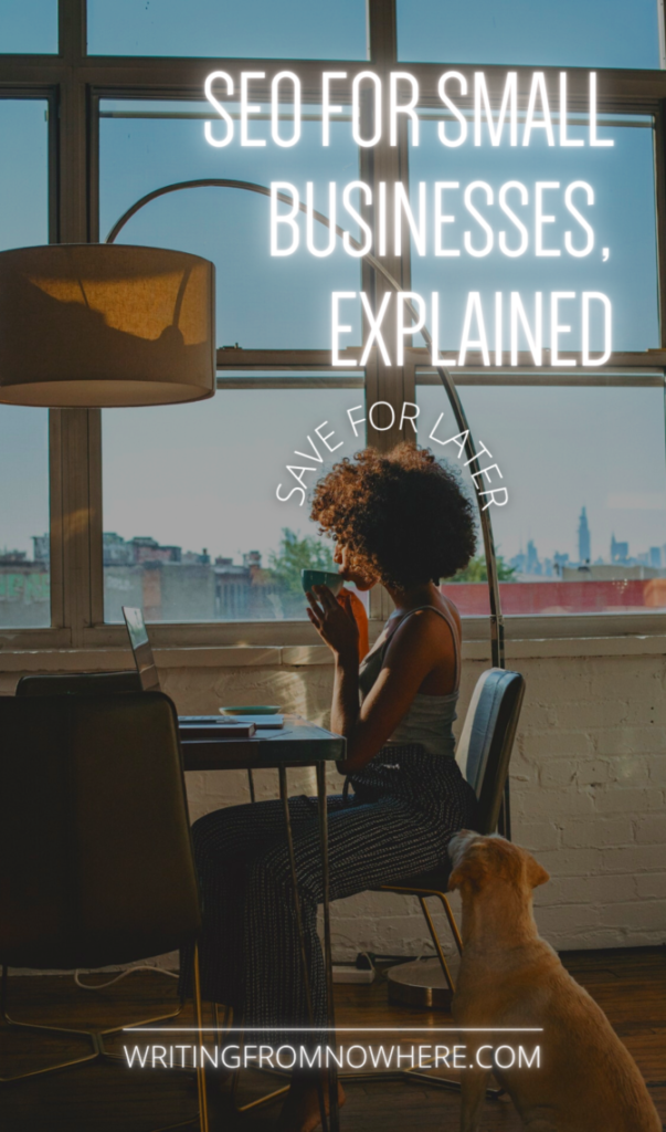 """A Black woman sups a coffee cup in her pajamas at her laptop with a city skyline outside of the window behind her. Text atop the photo reads """"SEO for small businesses, explained, save for later"""""""