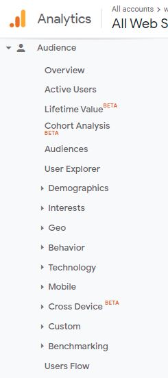 Screenshot showing interests and gender of your current audience on Google Analytics