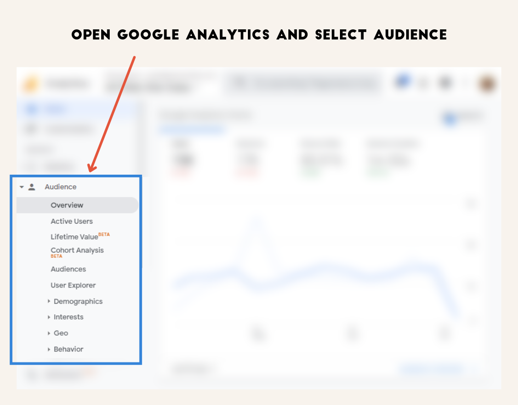 Screenshot showing how to find your current audience in Google Analytics