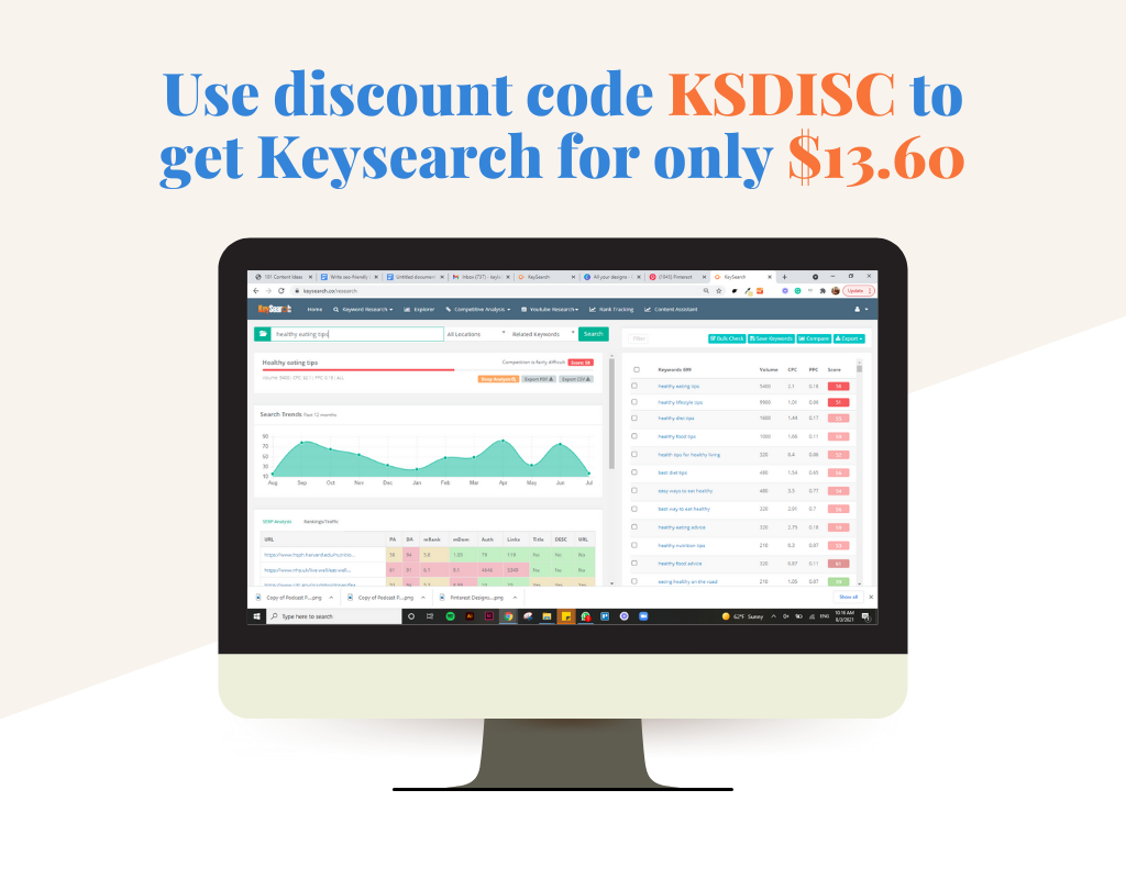 Computer screen with a screenshot of Keysearch on it and the discount code KSDISC to get Keysearch for only $13.60