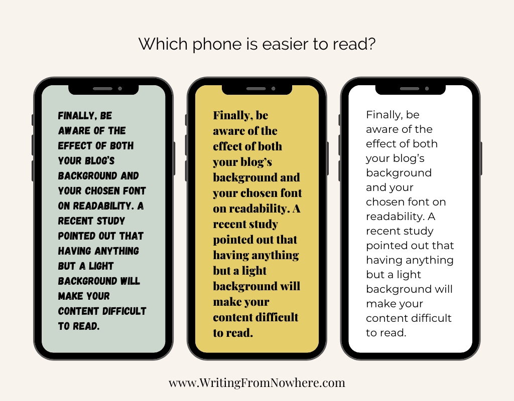 The same text with three different backgrounds to show that when you format your blog posts, black letters on a light background makes for the best readability